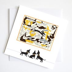 Dachshund Pollock Greetings Card