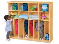 Lakeshore First Steps® Cubbies & Coats Storage Center Daycare Cubbies, Daycare Storage, Preschool Cubbies, Classroom Cubbies, Kids Daycare, Home Daycare, Daycare Ideas, Daycare Rooms, Preschool Classroom