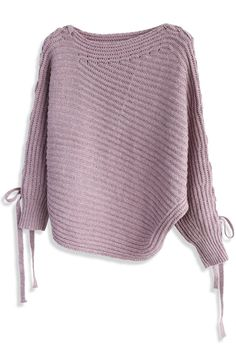 Asymmetric Lace-up Shoulder Sweater in Purple - New Arrivals - Retro, Indie and Unique Fashion