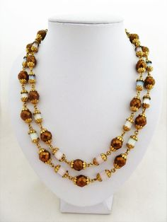 Czech Double Strand Vintage Necklace with Pastel Russian Cane Glass and Bronzed Faceted Glass Beads