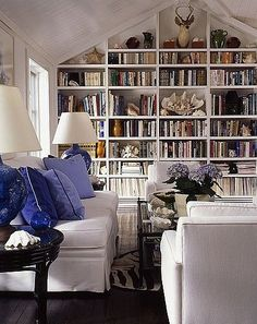 Books makes this more perfect ~slipcovered sectional pieces and books, books, books, yes! Yes! YES!!!~