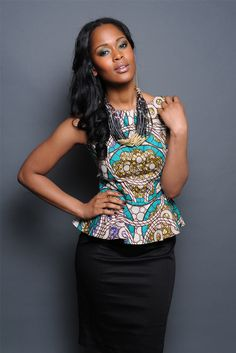 African Tribal Print Peplum Top. Beautiful top; love the pattern and style, paired with skirt <3