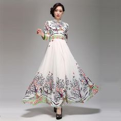 2013 summer national trend women's plus size chiffon one-piece dress summer slim vintage chiffon full dress maxi long S-XXXL $102.48