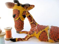 Ooak Spun Cotton Large Giraffe Worn Out Toy Art by spunoncotton, $67.00
