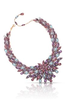 Necklace in pink gold with amethyst, rhodolite, iolite and blue topaz - Pasquale Bruni Jewels, Mandala collection