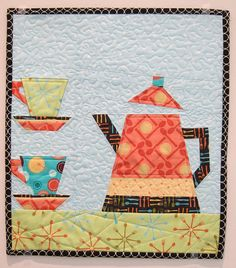 Coffee Pot Wall hanging that is paper pieced - tutorial Paper Pieced Quilt Patterns, Quilt Block Patterns, Quilt Blocks, Quilting Projects, Quilting Designs, Sewing Projects, Small Quilts, Mini Quilts, Patch Aplique