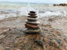 Set of 7 Zen Balancing Sea Stones from Greek islands, A Natural Beach Stone stack Hag Stones, Aquarium Decorations, Beach Stones, Beach Crafts, Island Beach, Greek Islands, Zen, Craft Supplies, Natural