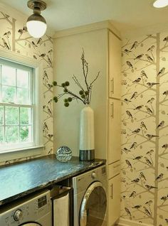 heather garrett design - pretty laundry with semi flush mount ceiling fixture