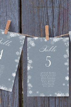 Introducing NORA – Gorgeous whimsical winter snowflakes and calligraphy hanging seating cards for a winter wonderland inspired theme.#winterwonderland #winterwedding #xmaswedding #christmaswedding Wedding Stationary, Wedding Invitations, Diy Wedding Templates, Snowflake Wedding, Seating Chart Template, Seating Plan Wedding, Seating Cards, Stationery Templates, Title Card