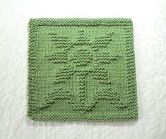 FLOWER Knit Dishcloth. Sage Green. Hand by AuntSusansCloset