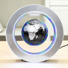 how to make the magic magnetic floating globe float, Funny C Shape Magnetic Levitation Floating Globe World Map with Colored LED Light Led Globe Lights, Floating Globe, Levitation Photography, Light Up, Light Colors, Plugs, The Darkest, Room Ideas, Design
