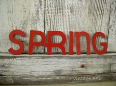 Vintage Cardboard Letters SPRING Red Letters by vintage541 on Etsy