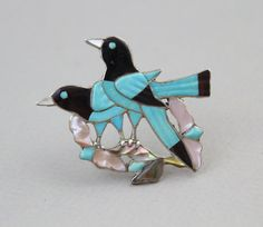 60s 2 Sterling Silver Birds on a Branch Pin