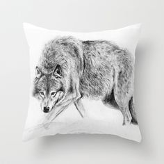 realistic wolf pillow