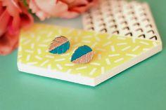 Cherish - Hand Painted Wooden Stud Earrings (Leaf) – Naoi