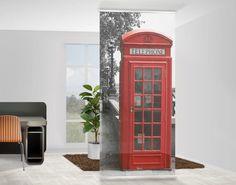 Raumteiler | Vorhang - Telephone 250x120cm #Schiebegardienen #Schiebevorhang #Vorhang #Raumtrenner #Curtain #London #Telefonzelle