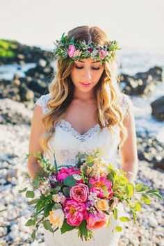 Bridal Portrait with haku lei and romantic bouquet, tropical Maui Wedding photos, taken at Kukahiko Estate, Makena by Caitlin Cathey Photography - Maui, Hawaii (Wedding Hair With Flowers) Tropical Wedding Bouquets, Beach Wedding Flowers, Beach Wedding Photos, Bridal Pictures, Kauai Wedding, Wedding Tips, Destination Wedding, Wedding Planning, Wedding Ceremony
