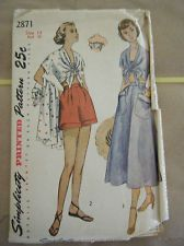 Vintage 1940's Simplicity 2871 Bra Top/Shorts/Skirt/Top Pattern-Size 14 Bust 32