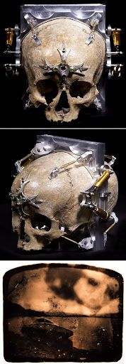 """ɛïɜ The Third Eye Camera ~There probably isn't a more suitable camera for halloween picture taking than """"Third Eye"""", a macabre pinhole camera created with a 150-year-old human skull by Wayne Martin Belger. Light enters the camera through the """"third eye"""" on the forehead, exposing the film that's placed in the middle of the skull. ɛïɜ"""