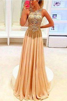 prom dresses,a-line champagne chiffon long prom dresses, evening dress
