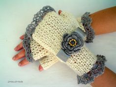 Lace Crochet  Fingerless Gloves Hand Warmers Soft Romantic Vintage style Ivory Silver gray Fluffy Angora soft merino wool irish flower. $23.00, via Etsy.