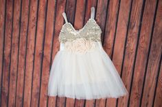 Ivory Flower Girl Dress Gold sequin dress by NicolettesCouture