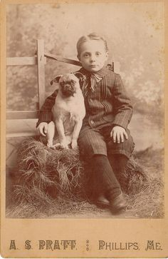 VINTAGE: Best Friends...Boy and his Pug