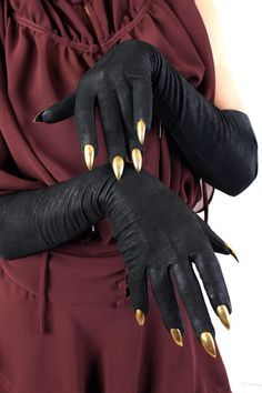 Five and Diamond Majesty Black Stiletto Nail Full Length Glove Garra, Cosplay Dress, Cosplay Costumes, Claw Gloves, Black Claws, Black Stiletto Nails, Crystal Nails, Leather Gloves, Trendy Nails