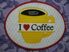 Split I Love Coffee FS Mug Rug ITH