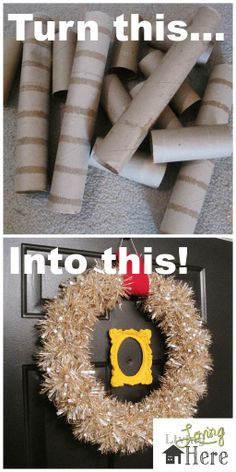DIY Toilet Paper Tube Wreath! A great Christmas craft that doesn't require any special supplies!