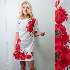 """Women's dress with hand-painting """"Poppies """""""
