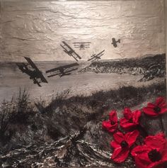 Poppy Art Poppy Painting WW1 planes Military War Remembrance Artist Jacqueline Hurley