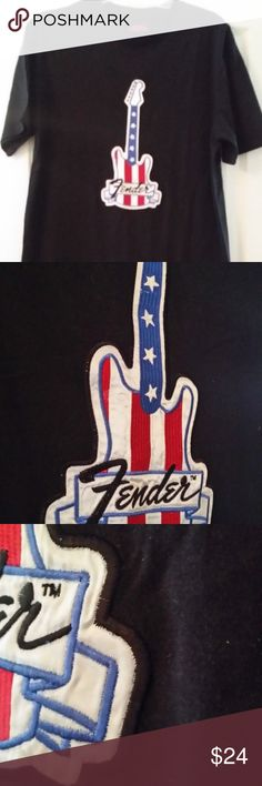d00aab854b8 Fender-Guitar-TShirt-With-Embroidered-Patch-XXL Fender guitar Tshirt