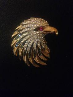 Crown Trifari Alfred Philippe Firebird Eagle Brooch 1960's #Trifari