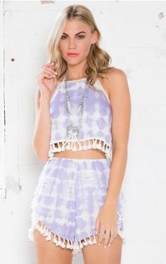 Shadow Dancer Two Piece Set in Purple Tie Dye