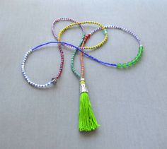 #handmade #tassel #bead #necklace #summer #hippie #boho #colour