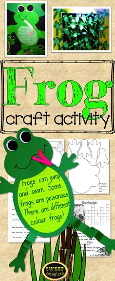 A cute craft activity to make to enhance a variety of curriculum studies: Frogs and Toads; Literacy unit based on the works of Arnold Lobel; Living and Non-Living things; Summer plans and 'jumping in' to the next grade level! Includes 4 companion sheets, all templates and set-by-step directions with photos!