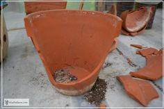 Success! This is what you are aiming for when breaking up a clay pot for a fairy garden