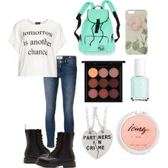 Chances by hellofashion22 on Polyvore featuring polyvore, fashion, style, Frame Denim, Dr. Martens, Ted Baker, MAC Cosmetics and Essie