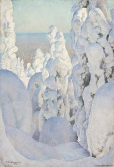 ein-bleistift-und-radiergummi: Pekka Halonen 'Winter Landscape at Kinahmi' 1923 Landscape Art, Landscape Paintings, Painting Snow, Winter Painting, Winter Trees, Winter Art, Art And Illustration, Inspiration Art, Scandinavian