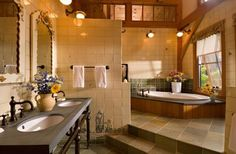 Vermont Timber Frame Residence - traditional - bathroom - other metro - Laurel Feldman Interiors, IIDA