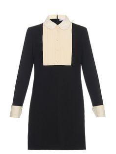 REDValentino Lace-collar tuxedo dress
