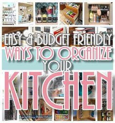 Looking for EASY and CHEAP ideas to quickly organize your kitchen? We've gathered up the BEST ideas, hacks, organizing methods and tips for you! Everything from space-saving cleve…