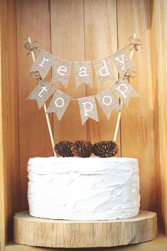 Ready to Pop Cake Topper, Baby Shower Cake Topper, Gender Reveal Party, He or She Cake Topper, Rustic Baby Shower Decor, Burlap Ready To Pop