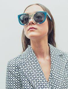 Yumi Lambert backstage at Suno S/S 2014 #LindaFarrow #Suno #Collaboration #Sunglasses #Eyewear