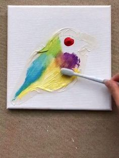 Art Drawings For Kids, Art Drawings Sketches Simple, Bird Drawings, Canvas Painting Tutorials, Diy Canvas Art, Art Painting Gallery, Diy Art, Creative Art, Watercolor Art