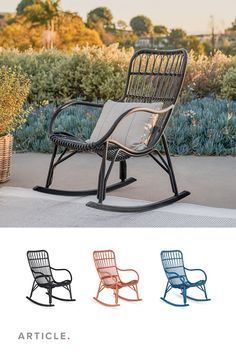 "That little picture in the dictionary beside the word ""relaxing""? That's the Medan Rocking Chair. Its breezy design, made from synthetic wicker, is perfect for indoor and outdoor use. #OutdoorFurniture #OutdoorLoungeChair #PatioFurniture #OutdoorStyle #OutdoorChair"