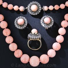 Antique Angel Skin Coral Neclace, Earrings and Ring - 90-1-4519 - Lang Antiques
