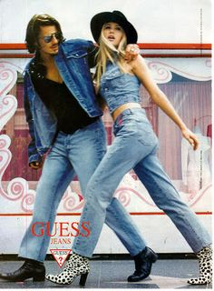 Vintage Denim Inspiration: a collection of fashion icons, TV stars and magazine adds that illustrate the denim philosophy of the decade. Denim Fashion, 90s Fashion, Levis, Guess Campaigns, Ad Campaigns, Guess Ads, Modelos Guess, Denim Party, Guess Models