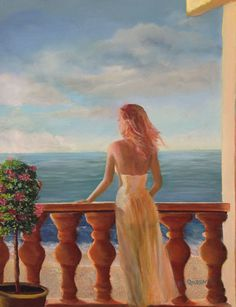 """""""My Darling"""" 16""""x20"""" lady, balcony, estate,  ocean, seascape, condo, nightgown, sky, flowers, woman, movement, columns, sexy,  sensual, physical embodiment, sun-kissed girl, tousled brown hair, brown hair, sea, favorite woman, memory, lover, outdoor, cute, tan, long hair, skin,  rays, glamorous, holidays, silhouette, erotic art, figure, femininity,  beautiful, beauty, body, body language,"""